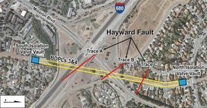 VERY TIGHT FIT. In Fremont, Calif., two corrugated steel water lines (BDPLs 3 and 4) cross three traces — or strands — of the Hayward Fault at a 45-degree angle. At the most potentially damaging strand, Trace B, the San Francisco Public Utilities Commission is replacing BDPL 3 with a solution designed to withstand 6.5 feet of displacement. The new pipe will be fitted with specially fabricated ball and slip joints housed within an articulated concrete vault that will let the pipe expand, contract, and rotate safely during an earthquake. Construction is scheduled to begin in May 2012 and end in 2014. Map: San Francisco Public Utilities Commission