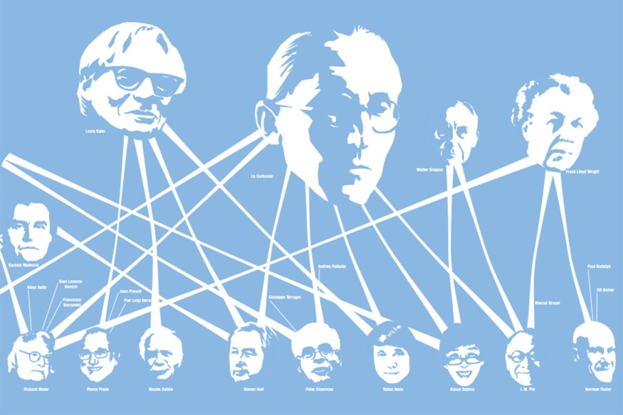 Oh, What a Tangled Web We Weave matches architects to their cited influences in the profession.