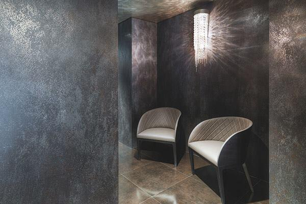 "Porcelain shouldn't be limited to bathrooms and flooring. Designed to mimic the look of metal that has been weathered from exposure to the natural elements, the Oxide Collection by Crossville comes in seven colors for modernist skinning of walls, doors, countertops, and other custom applications in both commercial and residential settings. Oxide, which comes in 3mm-thick, 3'4""-by-10'-panels, can cover existing tile, wood, and painted finishes. laminambycrossville.com"