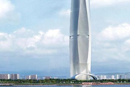 The 110-story Fluidic Tower in Seoul, South Korea.