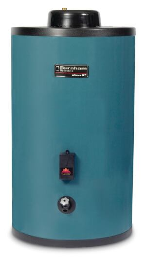 Burnham. The Alliance SL indirect-fired water heater is a tank-style option for builders who want to greatly reduce standby losses. Instead of using a flue, the indirect-fired water heater utilizes the power and large heating capacity of a boiler to provide hot water. The unit also features 2 to 3 inches of polyurethane foam insulation and a hydrastone lining to further reduce standby heat loss. 717.397.4701. www.burnham.com.