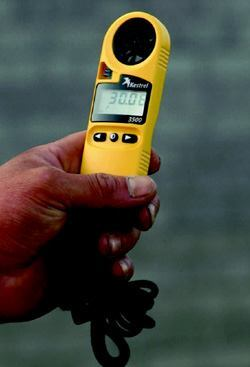 Small portable weather instruments, such as the one shown here made by Kestrel, make it possible to know wind, relativity humidity, and ambient temperature conditions on your jobsite. Knowing this, you can predict whether plastic cracking will be a problem.