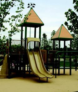 Heuser Park's new playground equipment has become a major attraction for children in Upper Merion Township. The playground was constructed by a specialty subcontractor to ensure safety.