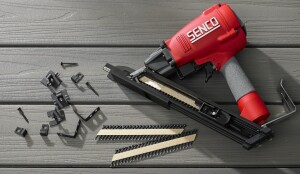 Senco's SHD150HP tool installs Mantis deck clicks using threaded nails that have a square-drive head.