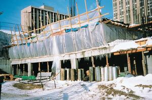 With proper protection, concrete work can proceed even in the coldest weather.