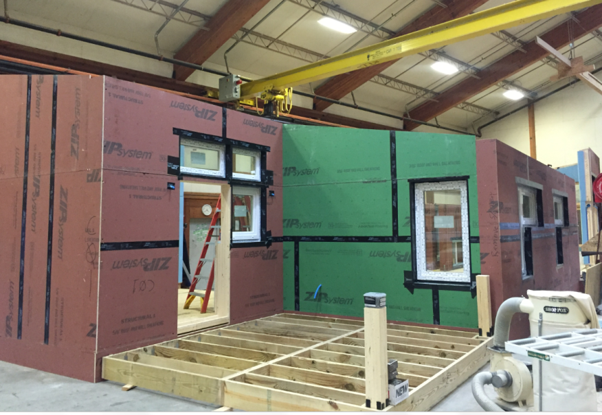 In advance of Greenbuild, Unity Homes is testing pre-assembly of the show home floor panels and walls in its New Hampshire factory.