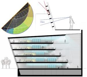 A diagrammatic section of the library during daylight hours represents the different layers of light via color: white represents daylight, yellow signals light provided from tasklights, and blue codes the ambient light provided by fluorescent sources (above). A sectional study of the southern louver wall's egg-crate design (top right) and the corresponding shading mask overlay on the solar calculator (top left).
