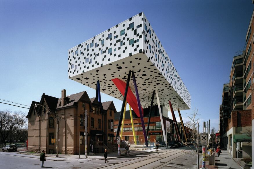Parasite: Will Alsop's Sharp Center for Design, a 2004 addition to the Ontario College of Art and Design, rises 85 feet above the Toronto streetscape on multicolored chopstick-style supports.