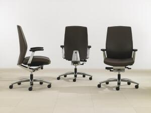 Marini    Teknion  www.teknion.com  Executive task chair - Designed by Conrad Marini - Metal components available in polished aluminum or ebony - Fully upholstered inner and outer back comes in a variety of fabrics - Meets Greenguard certification for Children Schools Indoor Air Quality - 86% recyclable