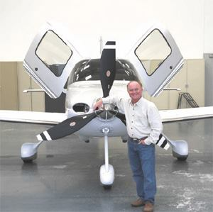 Mark Humphreys' Cirrus Turboprop jet is fast and fuel-efficient.