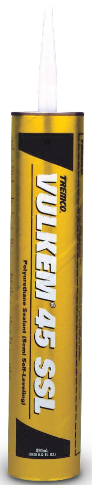 Vulkem 45 joint sealantTremcowww.tremcosealants.com  One-part polyurethane sealant allows next-day application to joints in concrete slabs    Eliminates green cracking as the concrete cures    Developed for level surfaces or those that are sloped up to 6 percent, such as sidewalks, pool decks, and parking decks    Uses the moisture in damp or green concrete to cure    Available in gray, limestone, white, black, and buff