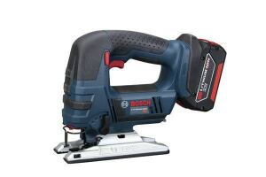 Bosch JSH180BLStroke: 1 inch; 0-2,700  Cutting modes: Takes Allen key;  Bevel: stops at 0 and 45 degrees  LED light: Yes  Weight w/battery (by ToTT): 5.42 lbs  Web price (bare; kit): $127; $190  Kit includes: L-Boxx; tool insert tray (battery and charger not included)  Country of origin: Switzerland  Pros: Very compact; significantly lighter than most other models; clamp automatically engages when blade is pushed in; twisting the clamp ejects the blade — no need to handle hot blades  Cons: Motor exhausts to the right and blows chips into the face of left-handed users; below-average cutting speed