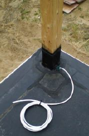 Figure 4. When the deck is above a waterproofed room below, it's important to schedule the audio installer in before the roofer to ensure the wire penetrations are waterproof.