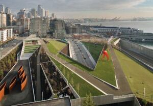 Surrounded by downtown Seattle, the Olympic Sculpture Park is intersected by an arterial highway and railroad tracks. Incorporating this infrastructure into the design, Weiss/Manfredi created an uninterrupted z-shaped landform that wanders from the city to the water's edge.