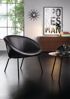 "The Black Series 369 is a reinvention of 369, a chair that made a stir when it was first created by the Walter Knoll team in 1956. Distributed by M2L, the Black Series 369 chair is available with a highly polished or satin-chromed metal frame and black perforated leather. It measures 30"" wide by 27-1/2"" tall by 30"" deep. Matching glass tables are available. The Black Series also includes two other classic chairs, the Vostra and the Turtle Back. The Classic 369 chair comes in a range of fabrics and leathers. m2lcollection.com"