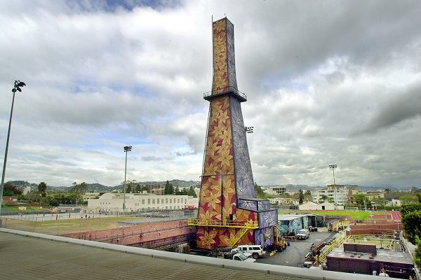 The decorated oil derrick looms over the athletic fields and buildings of Beverly Hills High School.