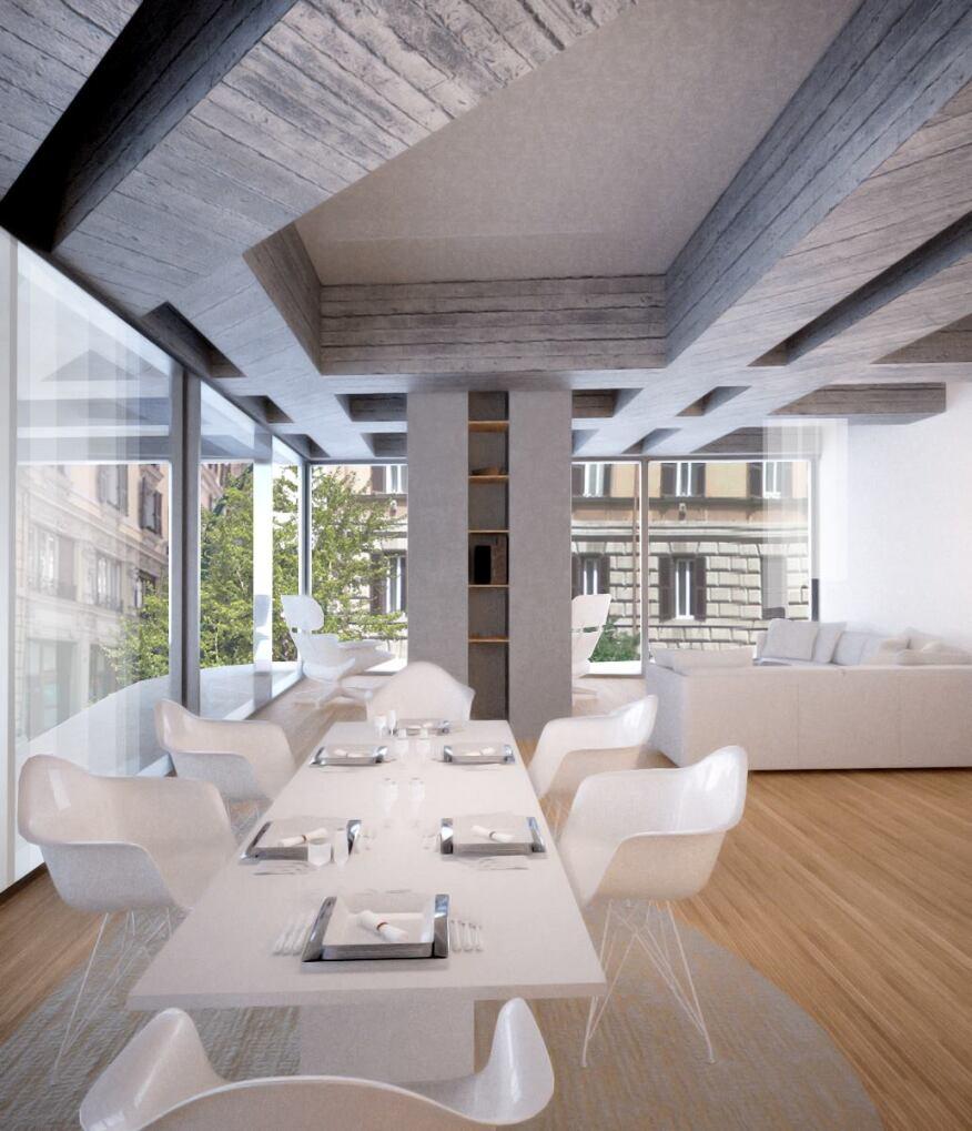 Rendering: Sleek interiors complement the building's clean exterior.