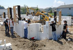 Members of the Portland Cement Association installed ICF walls at the Habitat for Humanity home, which will become a USGBC Legacy home.