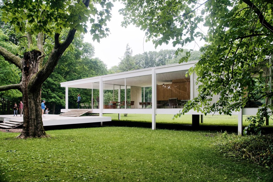 Farnsworth House, in Plano, Ill., designed by Mies van der Rohe, 1951