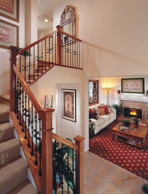 A double-story entry with a window allows the compact interior to appear more expansive.