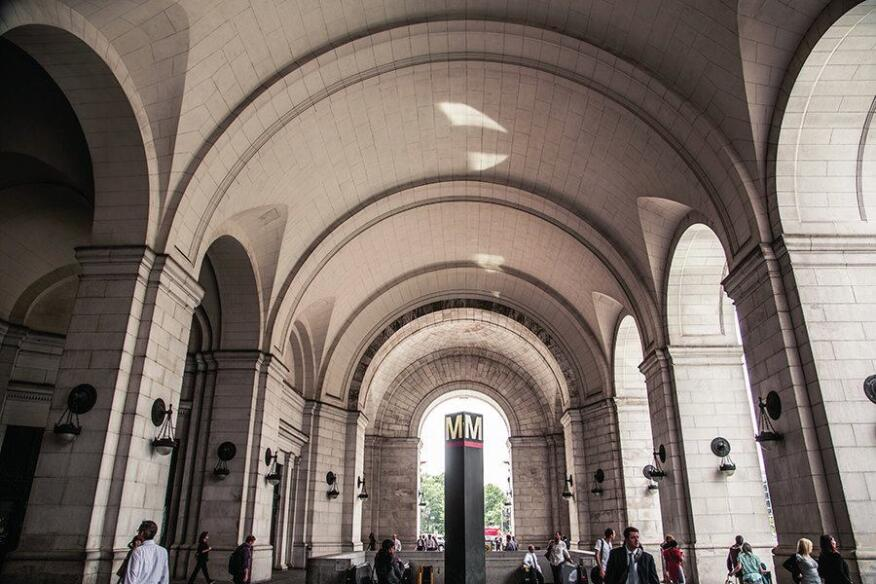Daniel Burnham's 1908 Union Station in Washington, D.C., a metro hub.