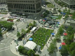 In 1999, former Detroit mayor Dennis W. Archer aimed to make Campus Martius Park the best public space in the world. Since then, the former eyesore has become the heart of the city's downtown redevelopment initiative, serving as a recreational and entertainment venue and attracting more than 2 million visitors year-round.