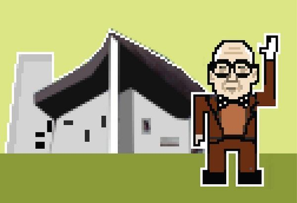 Le Corbusier, with the Chapel of Notre Dame du Haut.