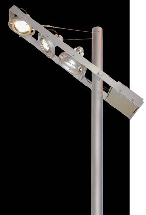 PRO series floodlightsSeluxwww.selux.com  Die-cast aluminum casing - Three sizes - Lamping choices range from 13-watt compact fluorescent to 1,000-watt high-intensity discharge - Variety of mountings, beam patterns, lenses, filters, and louvers - Cardanic Systems gimbal mounting frames available for suspended and pole-mount applications
