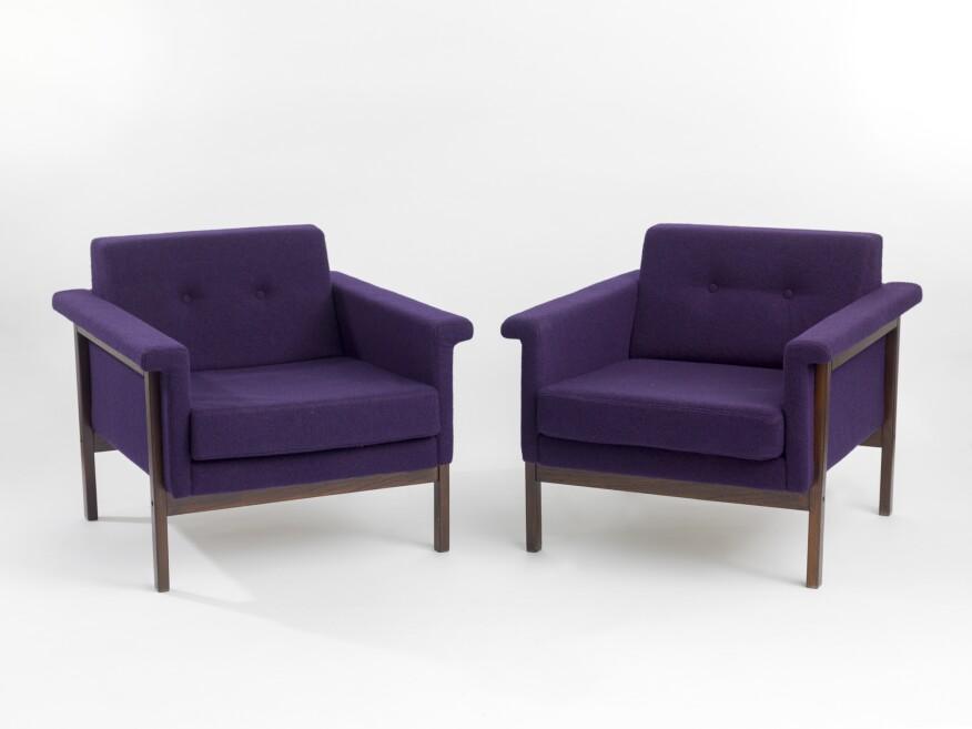 Cadada Settee, 1959; walnut and upholstery.