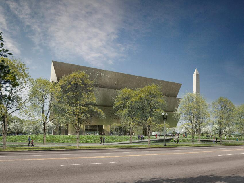 A rendering of the final design for the National Museum of African American History and Culture, designed by Freelon Adjaye Bond / SmithGroup.
