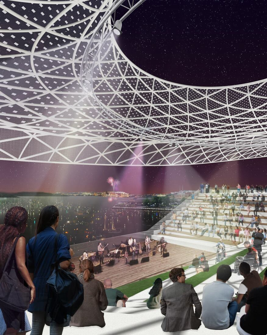 The amphitheatre features a 1.4-ace platform spanning the river, topped by a canopy, aiming to engage people with the river.