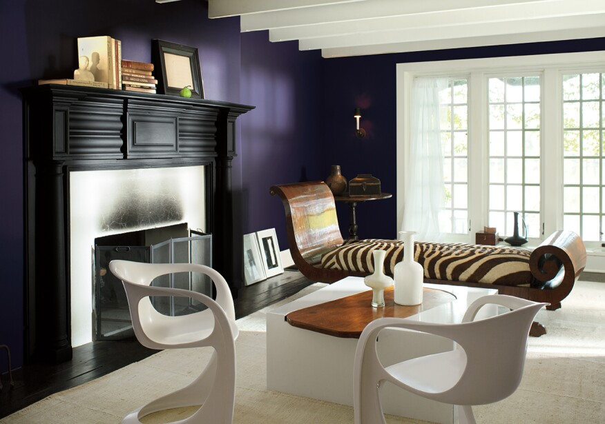 Benjamin Moore's 2017 Color of the Year, Shadow, adds depth to the room with a rich color.