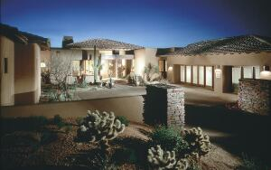 Covered entry courtyards protect the residents of DesertHills from the hot Arizona sun.