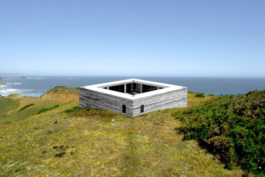 """Meta Pavilion No 05 (Santa Maria Island, Chile)"" (2011, digital collage by Pezo von Ellrichshausen)"