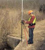 Zeki Taha, a technician with Transpotek, uses a Leica GS20 to locate the geographical position of an outfall. Photos: Transpotek