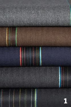 Maharammaharam.com  Herringbone pattern overlaid with intermittent stripes that run the length of the fabric - Available in brown, navy, and heathered gray 100 percent wool - Upholstery weight and contract grade - New addition to fashion designer Paul Smith's Maharam line