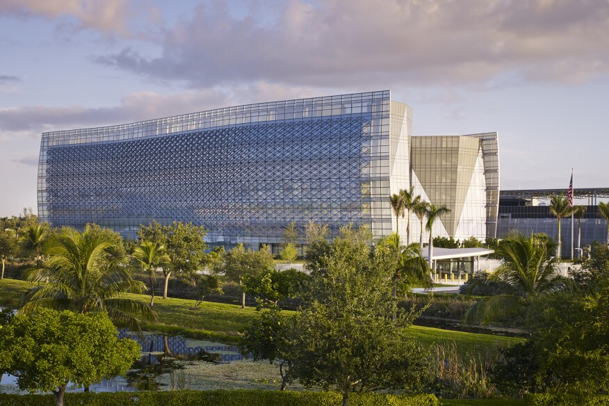 Designed by Krueck + Sexton, the Benjamin P. Grogan and Jerry L. Dove Federal Building in Miramar, Fla., was designed to LEED Platinum core-and-shell standards.
