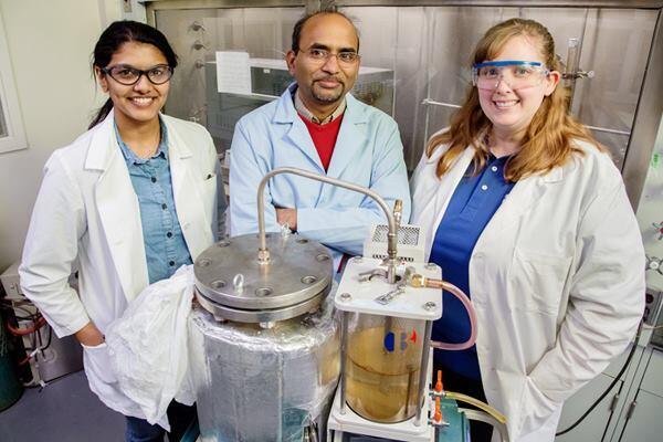 From left: Research chemist Dheeptha Murali, senior research scientistBrajendra Kumar Sharma, and process chemist Jennifer Deluhery.