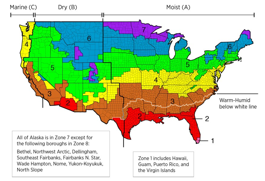 Climate zones as defined by the 2012 International Energy Conservation Code.