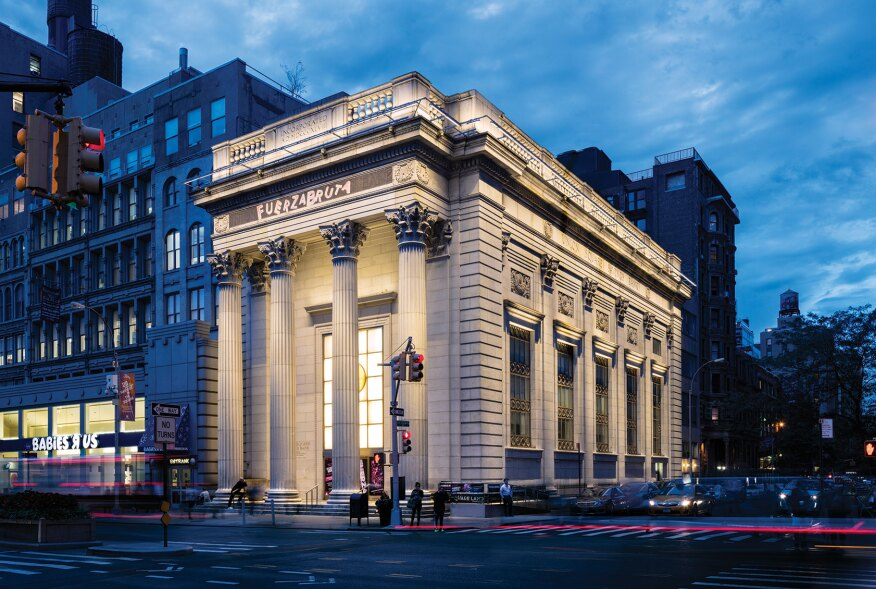 The Daryl Roth Theatre sits on a narrow site at the corner of  East 15th Street and Union Square East, across from Union Square in New York City.