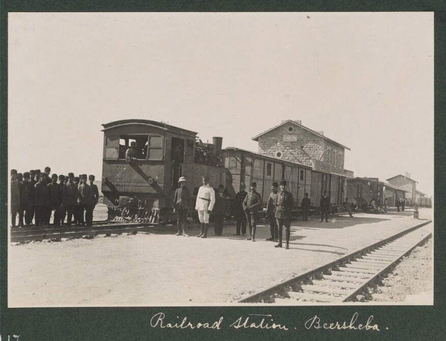 A railway station in Beer Sheva, Israel, in 1917. The Ottomans built the route to move troops during World War I.