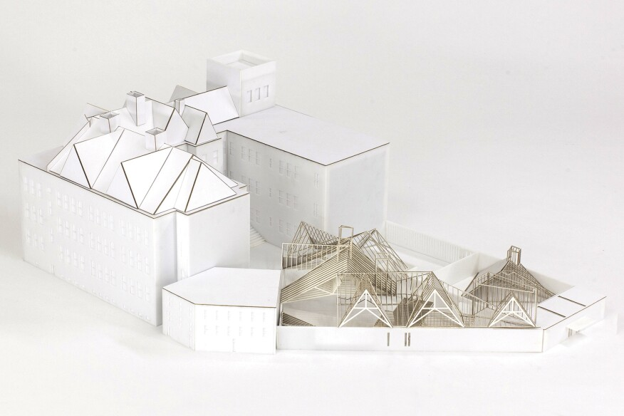Besler & Sons' proposal for the 2015 MoMA PS1 Young Architects Program replicated the museum's existing roof framing to create a sunshading system for the PS1 courtyard.