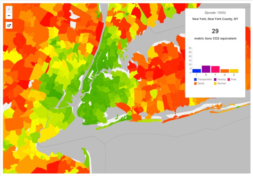 New York City carbon footprint map, showing average total and annual household footprint by zip code