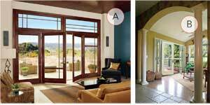START SMALL: The trend for bigger views drifts down to the details in standard patio doors, as evidenced in Marvin's lofty transoms and thin stiles on the recently redesigned Ultimate Inswing French Doors (A). Fixed or hinged sidelites add another two feet to the width of Therma-Tru's Fiber-Classic Oak and Smooth-Star fiberglass patio door lines (B) as well as the Essence Series swinging patio door by Milgard (C, next image set).