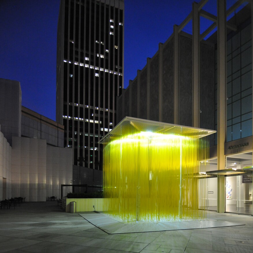 William Pereira's LACMA and 5900 Wilshire buildings, with installation of Jesús Rafael Soto's 1990 sculpture, Penetrable