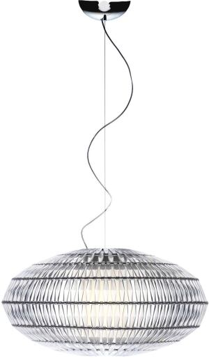 Inspired by traditional Murano glass chandeliers, the Tropico from Foscarini is a modular suspension lamp that can be configured in different shapes and sizes. The fixture is comprised of variably sized rings, which form a skeleton where small thermoplastic resin pieces can be attached. Customizable up to 6½ feet, Tropico is produced in four standard shapes, including the Ellipse, whose orb measures 29½ inches in diameter and 13¼ inches high. Foscarini SRL, 39.041.595.3811;  www.foscarini.com
