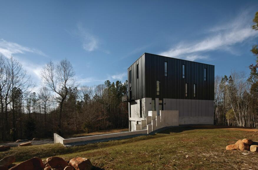 The metal-clad, four-story Rank Residence in Pittsboro, N.C.