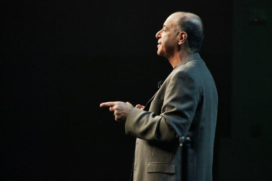 Autodesk president and CEO Carl Bass speaks at the opening keynote.