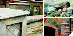 The fireplaces, water features, walkways, walls, and other displays at M S International's outdoor showroom showcase a wide breadth of stone types, including California slate, jade white sandstone, and golden white quartzite.