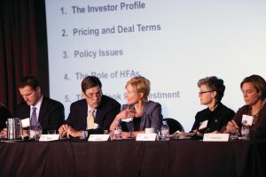 From left, David Leopold of Bank of America Merrill Lynch, Raoul Moore of Enterprise Community Investment, Corine Sheridan of Boston Capital, and Beth Stohr of U.S. Bancorp CDC speak at AHF Live in November.